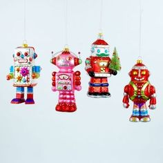 Robots Santa Space People Space Age Christmas Ornaments Set 4 Outer Space | eBay