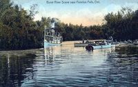 Vintage pic of a steamer on the Burnt River, just off Cameron Lake in Fenelon Falls, Ontario.