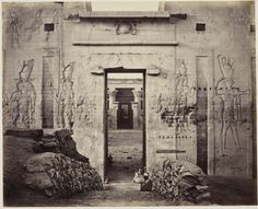 View through the Great Gateway into the Grand Court of the Temple of Edfou [Temple of Horus, Edfu] | Royal Collection Trust