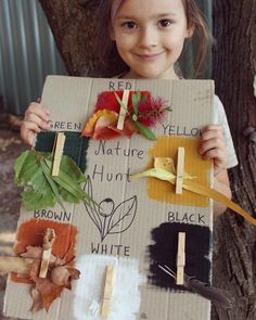 Cute nature scavenger hunt idea - recycle some old cardboard and glue clothespins to it! Forest School Activities, Nature Activities, Spring Activities, Color Activities, Preschool Activities, Nature Scavenger Hunts, Scavenger Hunt For Kids, Autumn Crafts, Nature Crafts