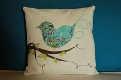 Blue Bird Perching Pillow Cover. 18 x 18 Hand by idoodletondesigns, $42.00