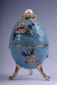 Faberge Egg with turtles & pedant turtle inside trinket box by Keren Kopal Swarovski Crystal. Beautiful colour!