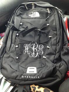 Monogrammed backpack.