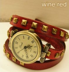 Studded Leather Vintage bronze Bracelet Watch-wine red Details Product Name:Studded Leather Vintage bronze Bracelet Watch-wine red Studded Leather Vintage bronze Bracelet Watch  Color:wine red/black/blue/dark brown/white  Dial diameter 2.5CM  Material: cowhide  Strap length of about 60 CM