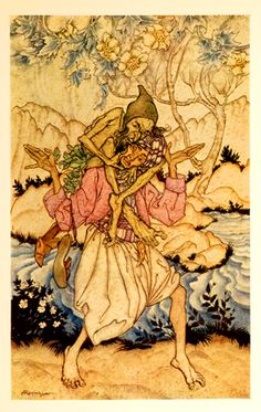 "Arthur Rackham: Illustration from ""The Story of Sindbad the Sailor"