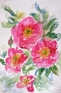 flower art  wild pink love roses  giclee by CheyAnneSexton on Etsy, $40.00
