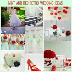 retro mint red wedding ideas on French Wedding Style (but turqouise instead of mint)