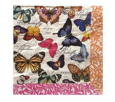 Paper Napkins PARIS 1878 BUTTERFLIES 2pcs (two) Beverage size Red Green Orange Yellow Blue Pink Butterfly Decoupage Paper Craft Napkin by DaisysNapkinSupply on Etsy