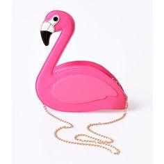 Lulu Hun Pink Flamingo Grace Shoulder Purse featuring polyvore, women's fashion, bags, handbags, shoulder bags, multicolor, white shoulder bag, pink crossbody, pink shoulder bag, purse crossbody and man bag