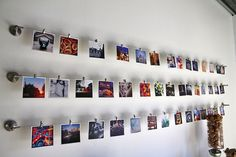 Create a gallery wall of your Instagram shots using inexpensive curtain hardware from IKEA.
