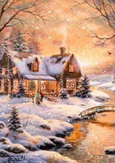 Merry Christmas Pictures, Christmas Scenery, Winter Scenery, Christmas Art, Beautiful Christmas, Winter Christmas, Beautiful Winter Pictures, Winter Images, Beautiful Gif
