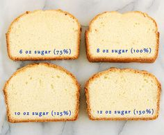 One pound cake recipe made with various amounts of sugar. cake batter - sugar