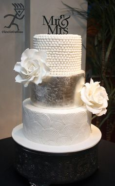 Silver Leaf, Swirls, Pearls & Giant White Roses - by Ciccio @ CakesDecor.com - cake decorating website