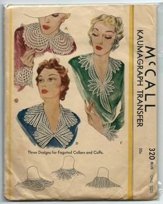 1930s Vintage Sewing Pattern McCall 320 Fagoted Collars & Cuffs Transfer