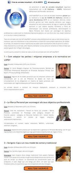 El Sábado  21/11/15 hablaré de MARCA PERSONAL en el #CicleActualitzat de la @jcivilafranca en #Vilafranca del #Penedès. Inscripción gratuita: http://vilafranca.jci.cat/cicle-de-xerrades-actualitzat-jci-adepg/    ;-) #PersonalBranding #Formación #Jóvenes #Juventud #Empresarios #Emprendedores #CeliaHil #VilafrancaDelPenedès #JCIVilafranca #ADEPG