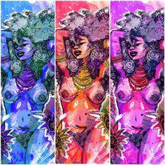 Sexy Black Art, Black Love Art, Black Girl Art, Arte Black, African Artwork, Deep Art, Caribbean Art, Purple Art, Black Artwork