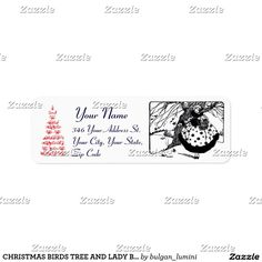 CHRISTMAS BIRDS TREE AND LADY Black White Red Return Address  Label  #xmas #winter #bird #gemstone #woman #fashion #trees