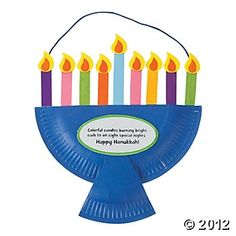 Paper Plate Menorah Craft Kit, Decoration Crafts, Crafts for Kids, Craft & Hobby Supplies - Oriental Trading
