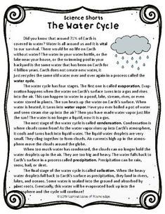 The Water Cycle Reading Comprehension Passage by LaFountaine of Knowledge Reading Comprehension Worksheets, Comprehension Questions, Reading Passages, English Reading, English Writing Skills, Teaching English, Reading Skills, Teaching Reading, English Lessons For Kids
