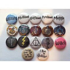 This listing is for 10 Harry Potter themed pins! Pins are 1 inch and coated with a thin sheet of shiny mylar for durability! There are 17 pins featured in the …