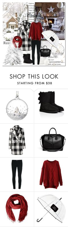 """Rustic Holidays"" by pmcdl ❤ liked on Polyvore featuring Swarovski, UGG Australia, Givenchy, J Brand, Faliero Sarti, Kate Spade, rustic, ugg, RedWhiteAndBlack and christmas2014"