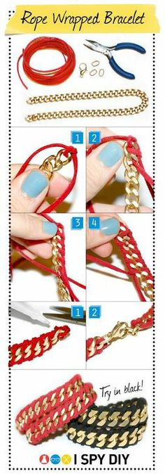 Recycle. Fashion. DIY. Another cool way to make a bracelet with some suede rope and a chain. Simple and cute.