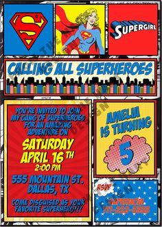 Superhero Supergirl Birthday Party Invitation by FromTheHartDesign