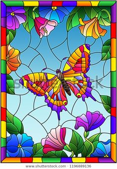 Illustration in stained glass style with a bright butterfly on a background of f. - Illustration in stained glass style with a bright butterfly on a background of flowers and sky in a - Stained Glass Paint, Stained Glass Crafts, Stained Glass Designs, Stained Glass Patterns, Glass Painting Patterns, Glass Painting Designs, Paint Designs, Glass Butterfly, Butterfly Painting