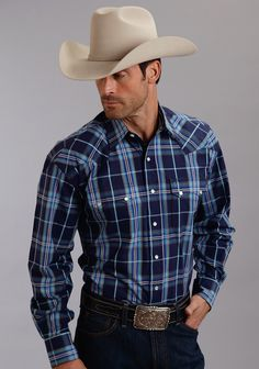 From Stetson®: This classic, midnight-blue plaid western shirt has a 1-point curved back yoke, contrast inside trim and a classic logo snap front.