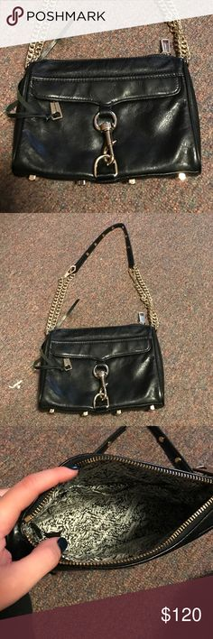 Rebecca Minkoff Mini M.A.C. Crossbody Mini M.A.C Rebecca Minkoff crossbody! Black leather with gold hardware, gently worn in great condition!! Rebecca Minkoff Bags Crossbody Bags