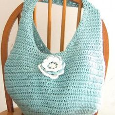 Reusable Market Bag, Seafoam Green Crochet Grocery Bag, Eco Friendly Shopping Tote, Light Aqua by MorningSkyCreations for $34.95 #zibbet