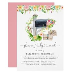 Floral Virtual Bridal Shower by Mail Invitation Wedding Shower Invitations, Rustic Invitations, Floral Invitation, Invitation Cards, Party Invitations, Invitation Wording, Invites, Mail Gifts, Pink Glitter