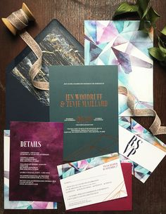 Eclectic Jewel Tone Geometric Wedding Invitations by Papertree Studio