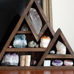 Wooden Crystal Storage Shelves
