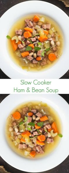 An easy slow cooker dinner recipe for using up leftover ham, this comforting and flavorful ham and bean soup recipe is full of hearty vegetables. #holidays #soup #slowcooker #comfortfood