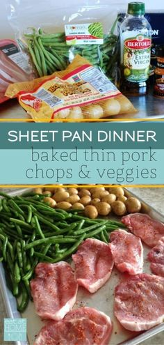 Baked Thin Pork Chops make this Chops and Veggies Sheet Pan Dinner quick, healthy and delicious. And - Baked Thin Pork Chops make this Chops and Veggies Sheet Pan Dinner quick, healthy and delicious. Pork Chop Dinner, Boneless Pork Chops, Health Dinner, Le Diner, Clean Eating, Healthy Recipes, Quick Easy Healthy Dinner, Healthy Supper Ideas, Healthy Dinners For Kids