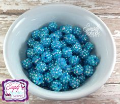 Blue AB Rhinestone 12mm Beads Gumball Beads Chunky Beads Resin Beads Round Beads Plastic Beads Bubblegum Beads Bubble Gum Beads