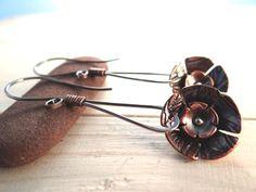 Mixed Metal Flower Drop Earrings by Lost Sparrow Jewelry
