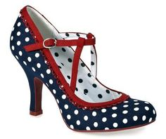RUBY SHOO WOMENS NAVY POLKA DOT RED TRIM T BAR MARY JANE HIGH HEEL COURT SHOES | eBay