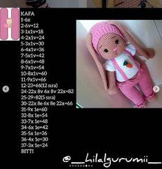 PONCİK TAVŞAN TARİFİ Crochet Doll Pattern, Crochet Toys, Origami, Bunny, Teddy Bear, Dolls, Hats, Animals, Ideas