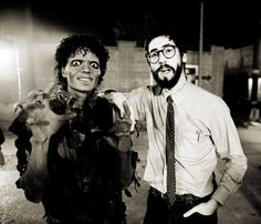 Michael Jackson and John Landis on the set of the Thriller music video.