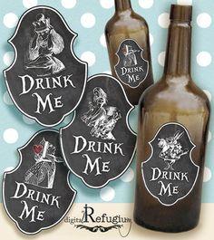 Alice in Wonderland Bottle Labels/ Digital by digitalRefugium