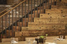 A staircase made interesting by using Havwoods RECM4011 Reclaimed Solid Oak- Tom's Kitchen