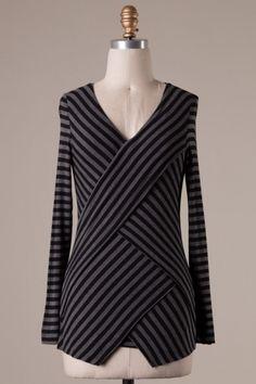 Long sleeve stripe detailed asymmetrical top