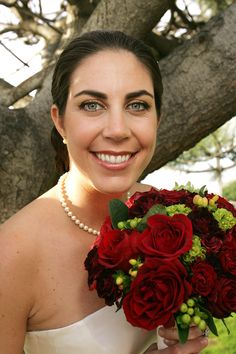 Have the accents be silver brunia, maybe?? Red bridal bouquet