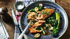 Sicilian-style salmon with garlic mushrooms