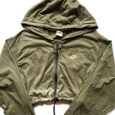 Image of Reworked Nike zip up crop hoody olive