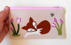 handmade by eva rose: Spring Fox and Tulips Applique Zipper Pouch Sewing