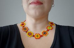 Native Ethnic Mexican Red and Yellow Flowers by LucianaLavin