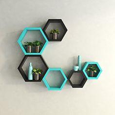 USHA Furniture Wall Shelf Rack Set Of 6 Hexagon Shape Storage Wall Shelves For Home - Sky Blue & Black, http://www.amazon.in/dp/B0157VYTY4/ref=cm_sw_r_pi_i_awdl_E05exbCH9D402